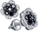 Black Diamond Flower Earrings 10K White Gold 0.50 cts. GD-78980