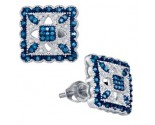 Blue Diamond Fashion Earrings 10K White Gold 0.20 cts. GD-81484