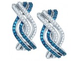 Blue Diamond Fashion Earrings 10K White Gold 0.61 cts. GD-81919