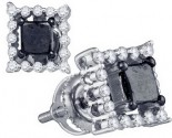 Black Diamond Fashion Earrings 10K White Gold 0.96 cts. GD-83116