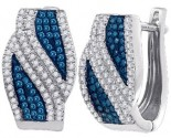Blue Diamond Fashion Earrings 10K White Gold 0.50 cts. GD-84342