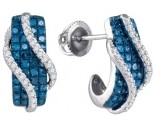 Blue Diamond Fashion Earrings 10K White Gold 1.03 cts. GD-86391