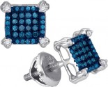 Blue Diamond Earrings 10K White Gold 0.25 cts. GD-88979