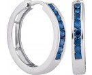 Blue Diamond Hoop Earrings 14K White Gold 0.50 cts. GD-90792