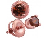 Red Diamond Stud Earrings 10K Rose Gold 0.50 cts. GD-92635