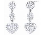 Ladies Diamond Heart Earrings 14K White Gold 2.10 cts. S31-7