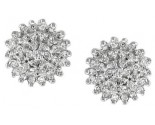 Diamond Flower Earrings 14K White Gold 0.50 cts. S7-21