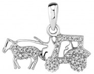 Diamond Horse and Carriage Pendant 14K White Gold 0.15 cts. DZ-30317