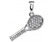 Diamond Tennis Racquet Pendant 14K White Gold 0.07 cts. DZ-30386