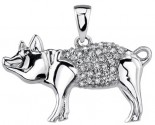 Diamond Piggy Pendant 14K White Gold 0.12 cts. DZ-30392