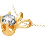 Diamond Solitaire Pendant 14K Yellow Gold GD-12237