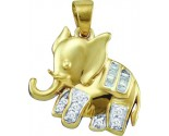 Diamond Fashion Elephant Pendant 10K Yellow Gold 0.10 cts. GD-58598