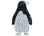 Black Diamond Penguin Pendant 10K White Gold 0.33 cts. GD-60543
