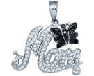 Black Diamond Mom Pendant 10K White Gold 0.37 cts. GD-62234