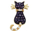 Chocolate Diamond Cat Pendant 10K Yellow Gold 0.39 cts. GD-65241