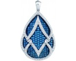 Blue Diamond Fashion Pendant 10K White Gold 3.00 ct. GD-72385