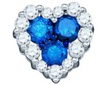 Blue Diamond Heart Pendant 10K White Gold 0.88 cts. GD-75043