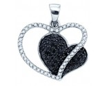 Black Diamond Heart Pendant 10K White Gold 0.44 cts. GD-76804