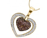 Cognac Diamond Heart Pendant 10K Yellow Gold 1.00 ct. GD-76809