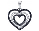 Black Diamond Heart Pendant 10K White Gold 0.62 cts. GD-76816