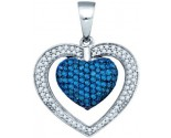 Blue Diamond Heart Pendant 10K White Gold 0.91 cts. GD-77102