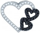 Black Diamond Heart Pendant 10K White Gold 0.33 cts. GD-77212