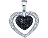 Black Diamond Heart Pendant 10K White Gold 1.00 ct. GD-77265