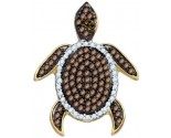 Brown Diamond Turtle Pendant 10K White Gold 0.38 cts. GD-81439