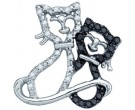 Black Diamond Cats Pendant 10K White Gold 0.17 cts. GD-81443