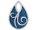 Blue Diamond Fashion Pendant 10K White Gold 1.05 cts. GD-81955