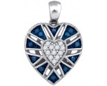 Blue Diamond Heart Pendant 10K White Gold 0.25 cts. GD-85895