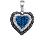 Blue Diamond Heart Pendant 10K White Gold 0.27 cts. GD-86473