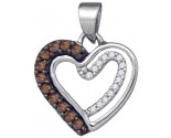 Brown Diamond Heart Pendant 10K White Gold 0.20 cts. GD-86997