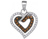Brown Diamond Heart Pendant 10K White Gold 0.25 cts. GD-86998