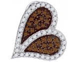 Brown Diamond Heart Pendant 10K White Gold 0.33 cts. GD-87105