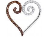 Brown Diamond Heart Pendant 10K White Gold 0.25 cts. GD-87106