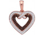 Red Diamond Heart Pendant 10K Rose Gold 0.25 cts. GD-88420