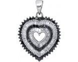 Black Diamond Heart Pendant 10K White Gold 0.90 cts. GD-88856