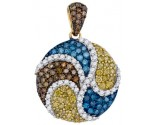 Mix Color Diamond Pendant 10K Yellow Gold 1.09 cts. GD-92604