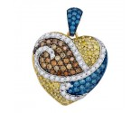 Mix Color Diamond Heart Pendant 10K White Gold 1.08 cts. GD-92624