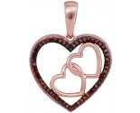 Red Diamond Heart Pendant 10K Rose Gold 0.15 cts. GD-93448