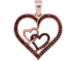 Red Diamond Heart Pendant 10K Rose Gold 0.25 cts. GD-93540