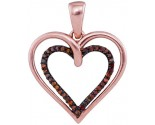 Red Diamond Heart Pendant 10K Rose Gold 0.10 cts. GD-93541