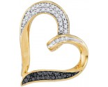 Black Diamond Heart Pendant 10K Yellow Gold 0.25 cts. GD-97508