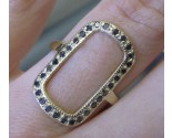 Black Diamond Rectangle Ring 14K Yellow Gold 0.40 cts. 6J7953
