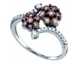 Chocolate Diamond Flower Ring 10K White Gold 0.85 cts. GD-72189