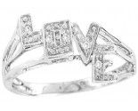 Diamond Love Fashion Ring 10K White Gold 0.03 cts. CL-3714