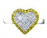 Canary Diamond Heart Ring 14K White Gold 0.60 cts. CR2318