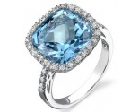 Blue Topaz Diamond Ring 14K White Gold 0.25 cts. DZ-30077