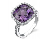 Amethyst Diamond Ring 14K White Gold 0.25 cts. DZ-30079